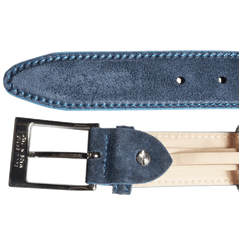 34mm Suede Belt With Lacquered Edge Navy - MEN - ACCESSORIES - BELTS - Mates In Style Fashion