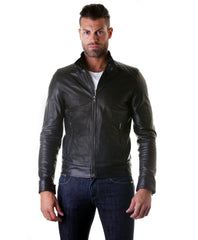 Men's Leather Jacket, Genuine Soft Leather, Biker Mao Collar Mao, Quilted Yoke, Black Color, Mod.Emiliany Trap | Buy MEN - APPAREL - OUTERWEAR - JACKETS Products Online With the Best Deals at Anbmart.com.au!