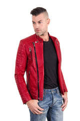 Men's Leather Biker Jacket Leather Biker Quilted Yoke Red Color Kevin | Buy MEN - APPAREL - OUTERWEAR - JACKETS Products Online With the Best Deals at Anbmart.com.au!