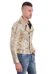 Men's Leather Biker Jacket Belted Gold Perfecto | Made In Italy | Buy MEN - APPAREL - OUTERWEAR - JACKETS Products Online With the Best Deals at Anbmart.com.au!
