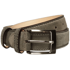 34mm Suede Belt With Lacquered Edge Grey - MEN - ACCESSORIES - BELTS - Mates In Style Fashion