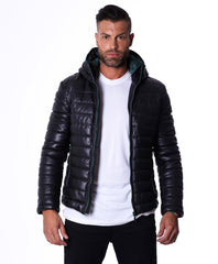 Men's Leather Down Jacket, Genuine Soft Leather, Central Zip, Black Color, Mod. Teo - MEN - APPAREL - OUTERWEAR - JACKETS - Mates In Style Fashion