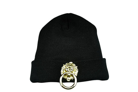 Black Unisex Skullcap With Large Metal Lion - MEN - ACCESSORIES - HATS - Mates In Style Fashion