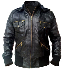 Black Hooded Hoodie Leather Jacket - MEN - APPAREL - OUTERWEAR - JACKETS - Mates In Style Fashion