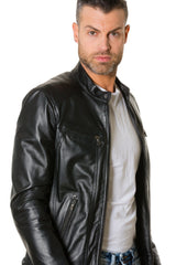 Lamb Leather Jacket Biker Style Smooth Aspect Black Colour Roberto - MEN - APPAREL - OUTERWEAR - JACKETS - Mates In Style Fashion