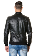 Men's Leather Jacket Bomber Black Gaudil - MEN - APPAREL - OUTERWEAR - JACKETS - Mates In Style Fashion