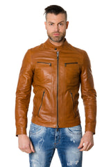 Lamb Leather Jacket Biker Style Vintage Aspect Tan Colour Roberto - MEN - APPAREL - OUTERWEAR - JACKETS - Mates In Style Fashion