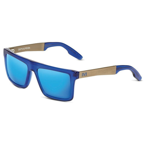 Sepulveda: Matte Midway Blue - Antique Brass / Pacific Blue Flash Lens - MEN - ACCESSORIES - SUNGLASSES - Mates In Style Fashion