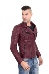 Men's Leather Biker Jacket Leather Biker Quilted Yoke Red Purple Color Kevin | Buy MEN - APPAREL - OUTERWEAR - JACKETS Products Online With the Best Deals at Anbmart.com.au!