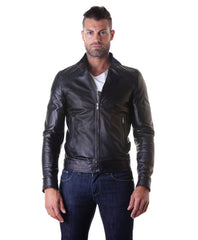 Leather Jacket With Quilt On Shoulder And Central Zip Black Color Mod.Emy | Buy MEN - APPAREL - OUTERWEAR - JACKETS Products Online With the Best Deals at Anbmart.com.au!