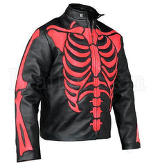 Men Black Skeleton Biker Leather Jacket | Buy MEN - APPAREL - OUTERWEAR - JACKETS Products Online With the Best Deals at Anbmart.com.au!