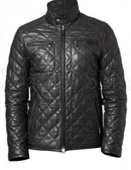 Men Black Quilted Leather Biker Jacket | Buy MEN - APPAREL - OUTERWEAR - JACKETS Products Online With the Best Deals at Anbmart.com.au!