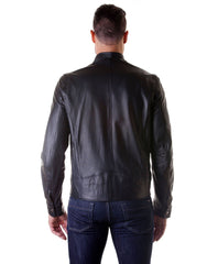 Men's Leather Jacket, Genuine Soft Leather, Biker, Buckle Collar,black Color, Mod.Max | Buy MEN - APPAREL - OUTERWEAR - JACKETS Products Online With the Best Deals at Anbmart.com.au!