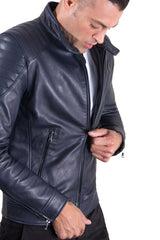 Men's Leather Jacket  Genuine Soft Leather Biker Quilted Yoke Blu Color U411 - MEN - APPAREL - OUTERWEAR - JACKETS - Mates In Style Fashion
