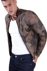 Leather Jacket Mao Collar Green Military Colour Mimetic Fantasy Ted | Buy MEN - APPAREL - OUTERWEAR - JACKETS Products Online With the Best Deals at Anbmart.com.au!