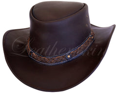 Men Handmade Brown Leather Hat - MEN - ACCESSORIES - HATS - Mates In Style Fashion