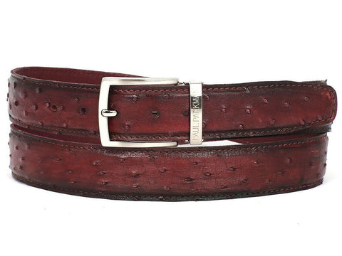 PAUL PARKMAN Men's Bordeaux Genuine Ostrich Belt (ID#B04-BRD) - MEN - ACCESSORIES - BELTS - Mates In Style Fashion