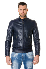 Leather Jacket Smooth Aspect Colour Blue Ted | Buy MEN - APPAREL - OUTERWEAR - JACKETS Products Online With the Best Deals at Anbmart.com.au!