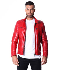 Men's Leather Jacket  Genuine Soft Leather Biker Style Collar Mao Red Color Hamilton - MEN - APPAREL - OUTERWEAR - JACKETS - Mates In Style Fashion