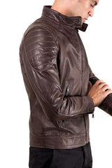 Men's Leather Jacket  Genuine Soft Leather Biker Quilted Yoke Dark Brown Color U411 | Buy MEN - APPAREL - OUTERWEAR - JACKETS Products Online With the Best Deals at Anbmart.com.au!