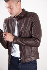 Men's Leather Jacket Korean Collar Two Pockets Dark Brown Color Hamilton | Buy MEN - APPAREL - OUTERWEAR - JACKETS Products Online With the Best Deals at Anbmart.com.au!