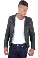 Men's Genuine Leather Biker Jacket Green Color | Buy MEN - APPAREL - OUTERWEAR - JACKETS Products Online With the Best Deals at Anbmart.com.au!