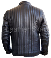 Men Black Rib Quilted Leather Jacket | Buy MEN - APPAREL - OUTERWEAR - JACKETS Products Online With the Best Deals at Anbmart.com.au!