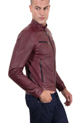 Men's Genuine Leather Biker Jacket Purple Color | Buy MEN - APPAREL - OUTERWEAR - JACKETS Products Online With the Best Deals at Anbmart.com.au!