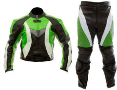 Green White Black Biker Leather Suit - MEN - APPAREL - OUTERWEAR - JACKETS - Mates In Style Fashion