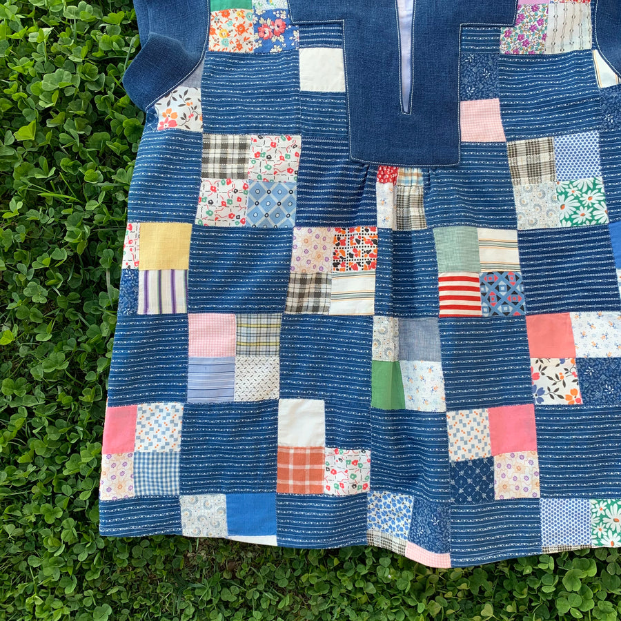 Clover vintage quilt top shirt with indigo dyed trim - Medium