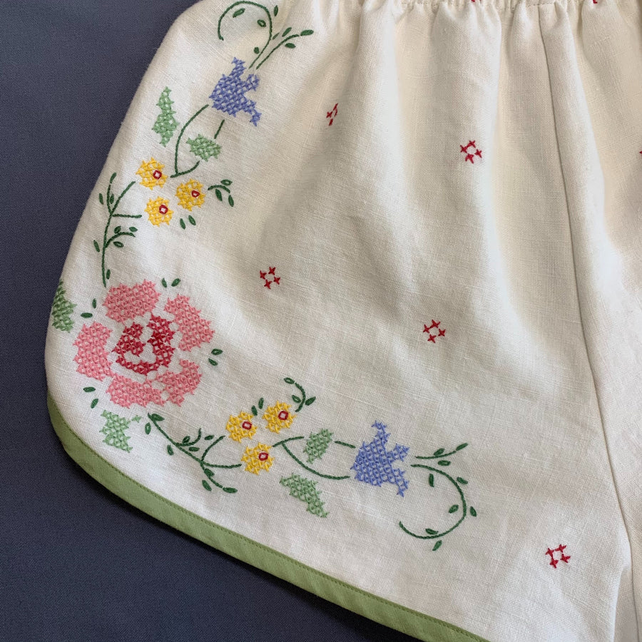 Pansy Shorts- Vintage Linen Embroidered Tablecloth - Medium