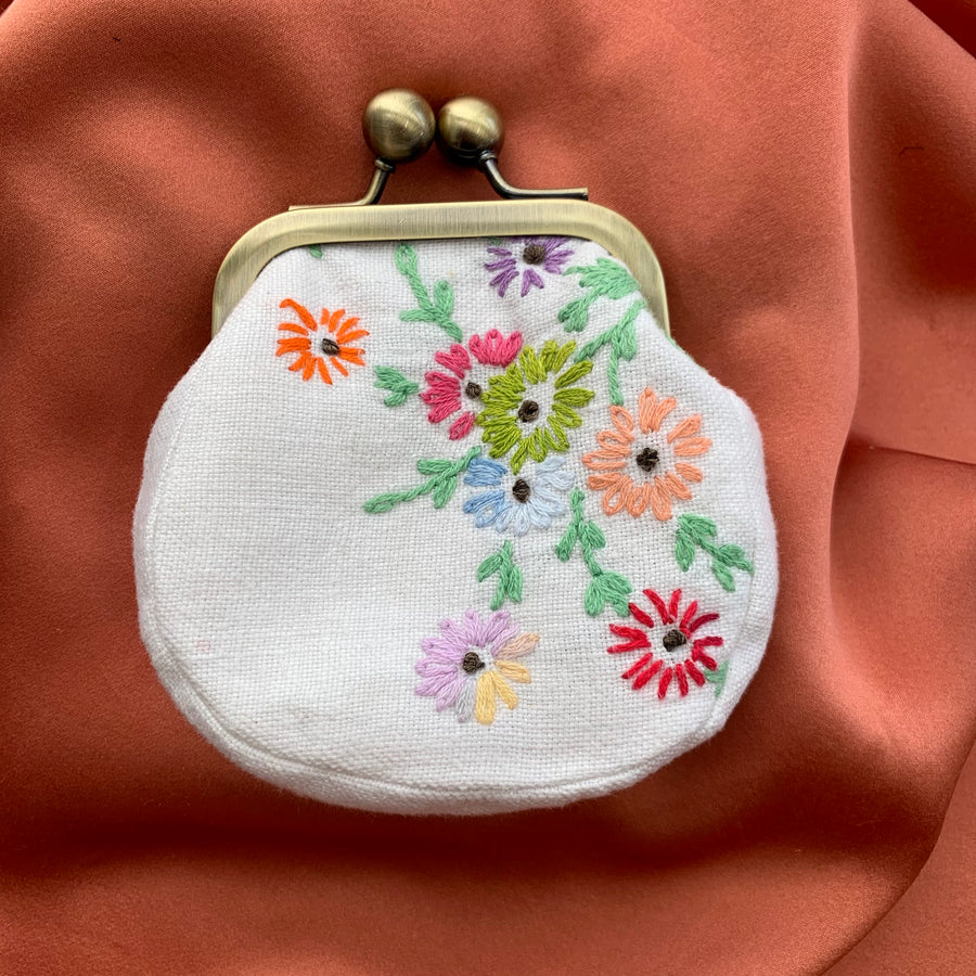 White linen coin purse with sweet multi color floral embroidery
