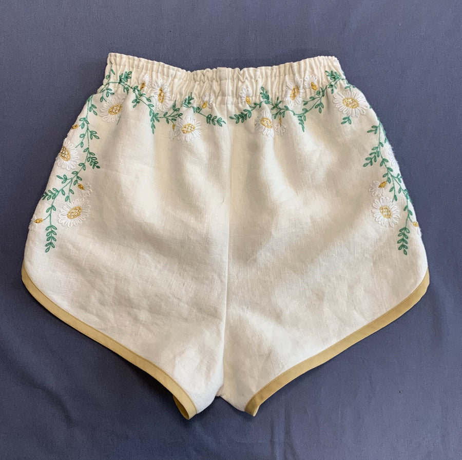 Pansy Shorts - Vintage Embroidered Linen Tablecloth - Extra Small