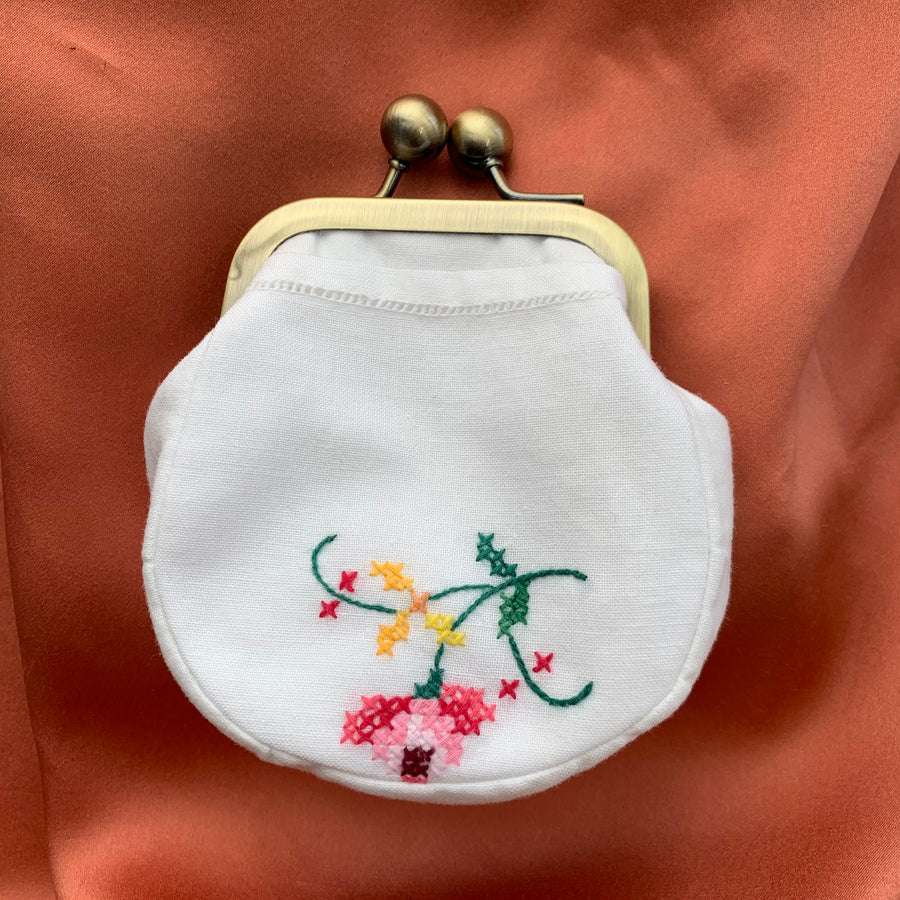 White Cotton coin purse with hot pink embroidery