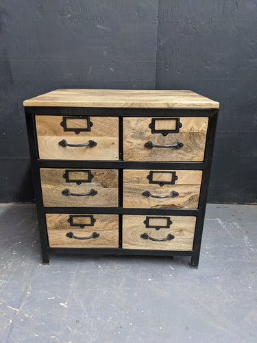 Wood and metal side cabinet
