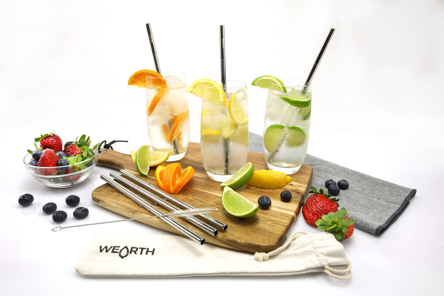 Wearth | Wearth On-The-Go s/steel straw kit 2 +brush and pouch | Plastic Free Living | Environmentally Friendly Homewares