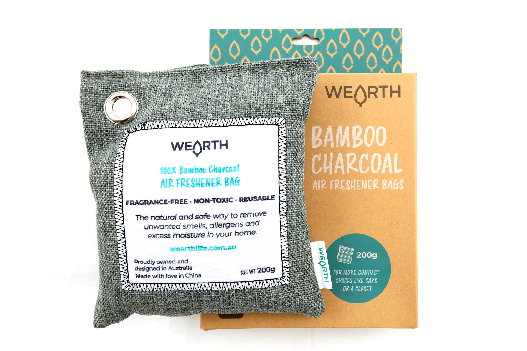 Wearth | Wearth Bamboo charcoal 200gm air purifying bag | Plastic Free Living | Environmentally Friendly Homewares