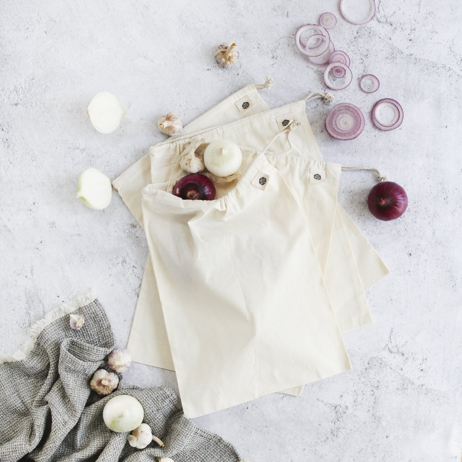Ever Eco | Organic cotton muslin produce bags 4 pack | Plastic Free Living | Environmentally Friendly Homewares
