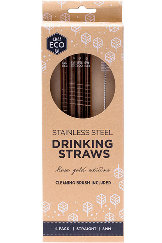 Ever Eco Rose Gold  stainless steel straw straight- 4pack + brush - Plastic Free Living