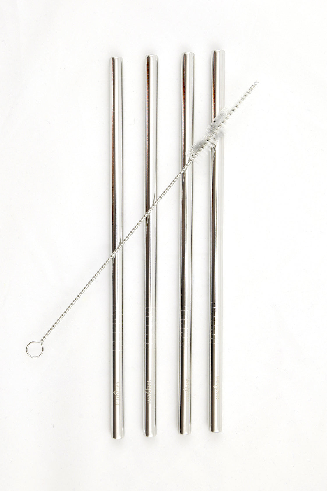 Wearth | Wearth stainless steel straw straight- 4pack + brush | Plastic Free Living | Environmentally Friendly Homewares