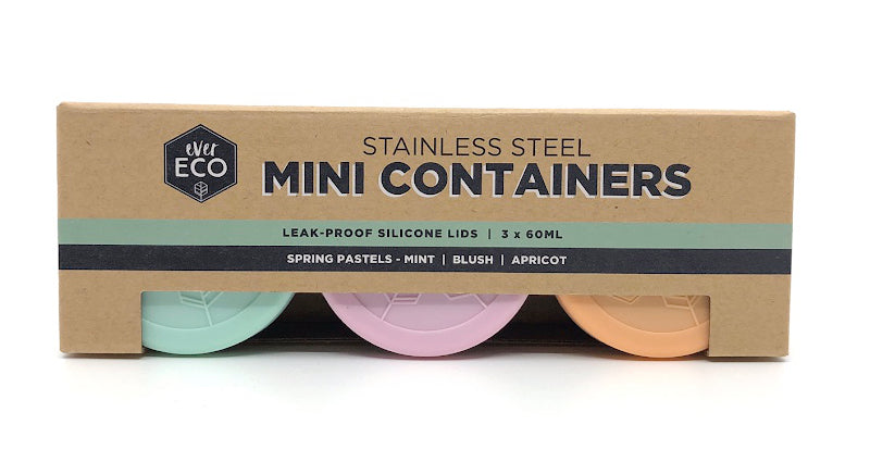 Ever Eco Mini Containers pastels 3x 60ml - Plastic Free Living