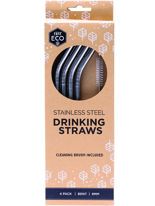 Ever Eco stainless steel straws bent-4pack + brush - Plastic Free Living