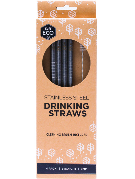 Ever Eco stainless steel straw straight- 4pack + brush - Plastic Free Living
