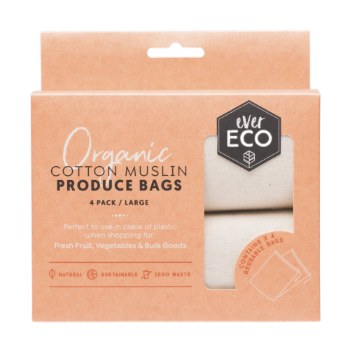 Ever Eco | Ever Eco Organic cotton muslin produce bags 4 pack | Plastic Free Living | Environmentally Friendly Homewares
