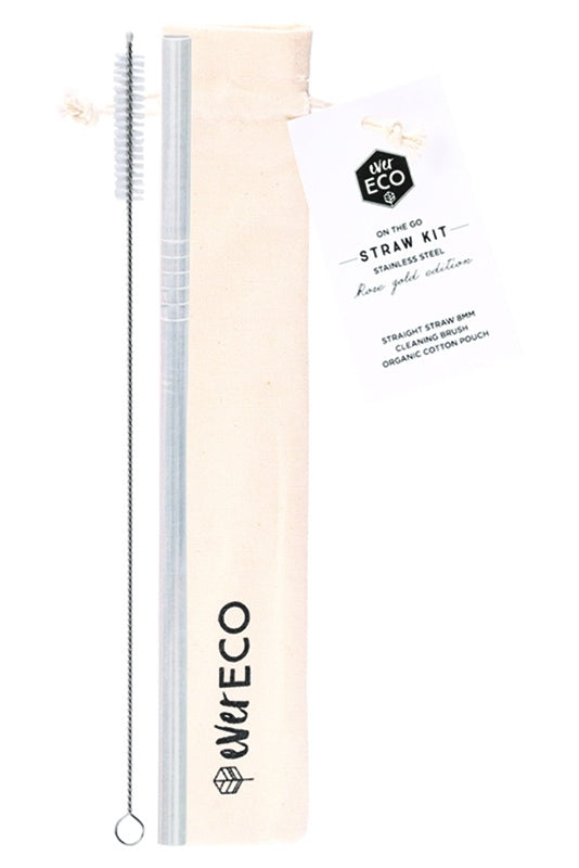 Ever Eco | Ever Eco On-The-Go s/steel straw kit 1+brush and pouch | Plastic Free Living | Environmentally Friendly Homewares