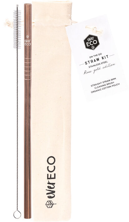 Ever Eco | Ever Eco On-The-Go straw kit Rose Gold 1 +brush and pouch | Plastic Free Living | Environmentally Friendly Homewares