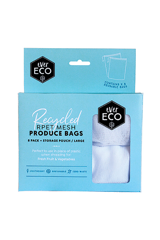 Ever Eco | Ever Eco Reusable produce bag RPET mesh 8pack | Plastic Free Living | Environmentally Friendly Homewares