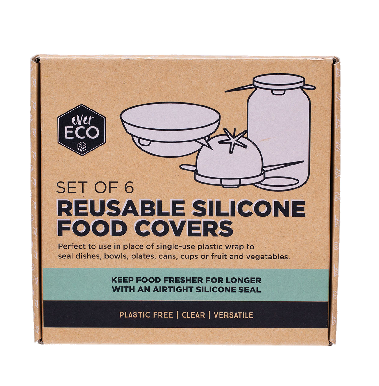 Ever Eco | Silicone Food Covers-Set of 6 | Plastic Free Living | Environmentally Friendly Homewares