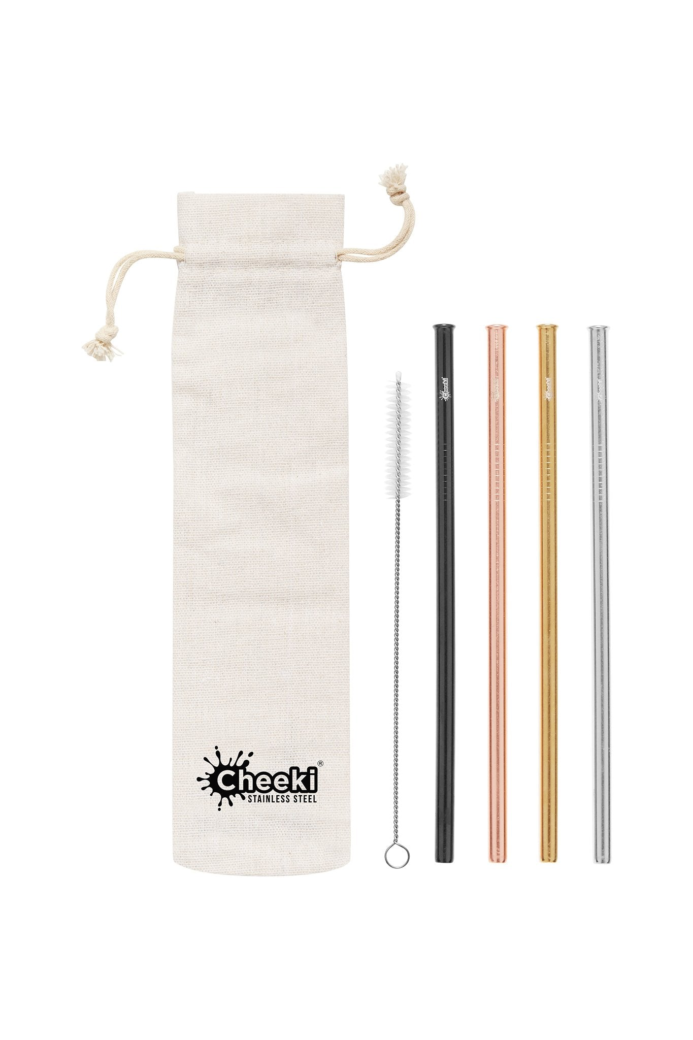 Cheeki | Cheeki 4 Pack Straight Stainless Steel Straws | Plastic Free Living | Environmentally Friendly Homewares