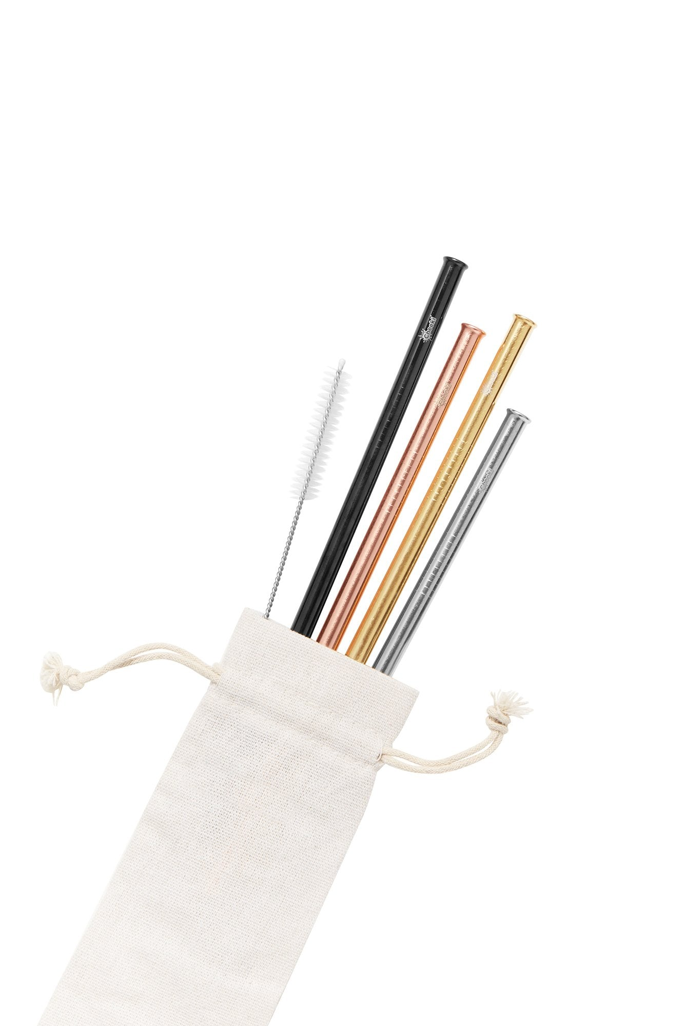 Cheeki 4 Pack Straight Stainless Steel Straws - Plastic Free Living